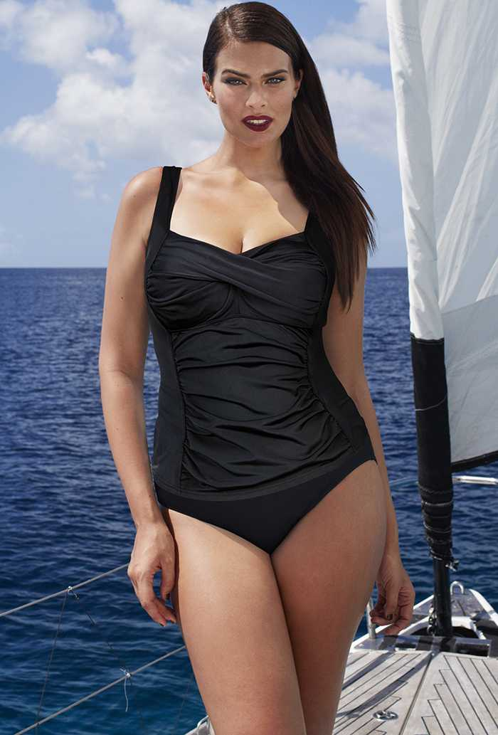 Black Twist-Front Tankini