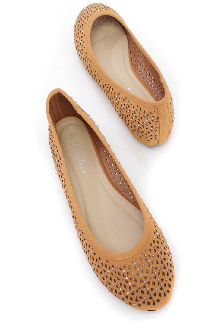 Light Brown Perforated Ballerina Flats Nubuck