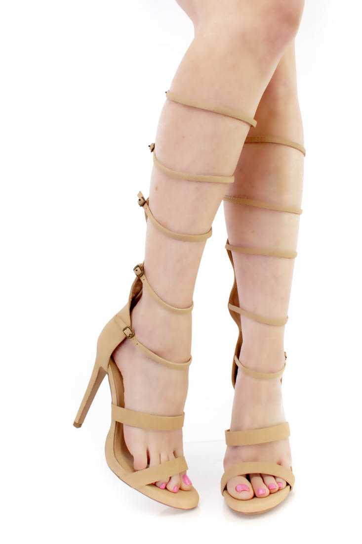 Beige Strappy Gladiator Single Sole Heels Nubuck