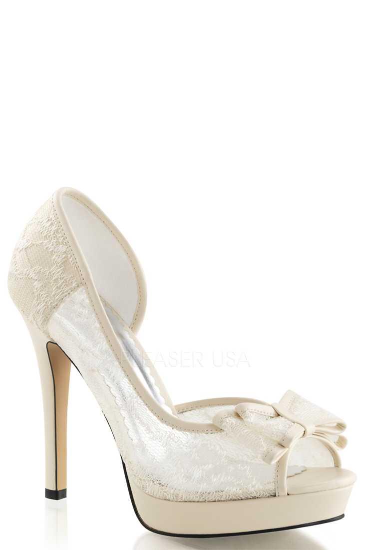 Ivory Peep Toe D Orsay Pump High Heels Lace