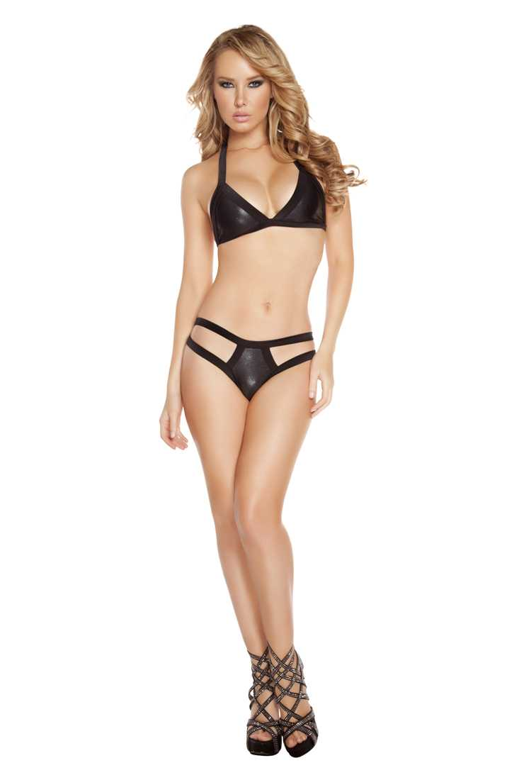 Black Two Tone Double Strap Pucker Back Bottom