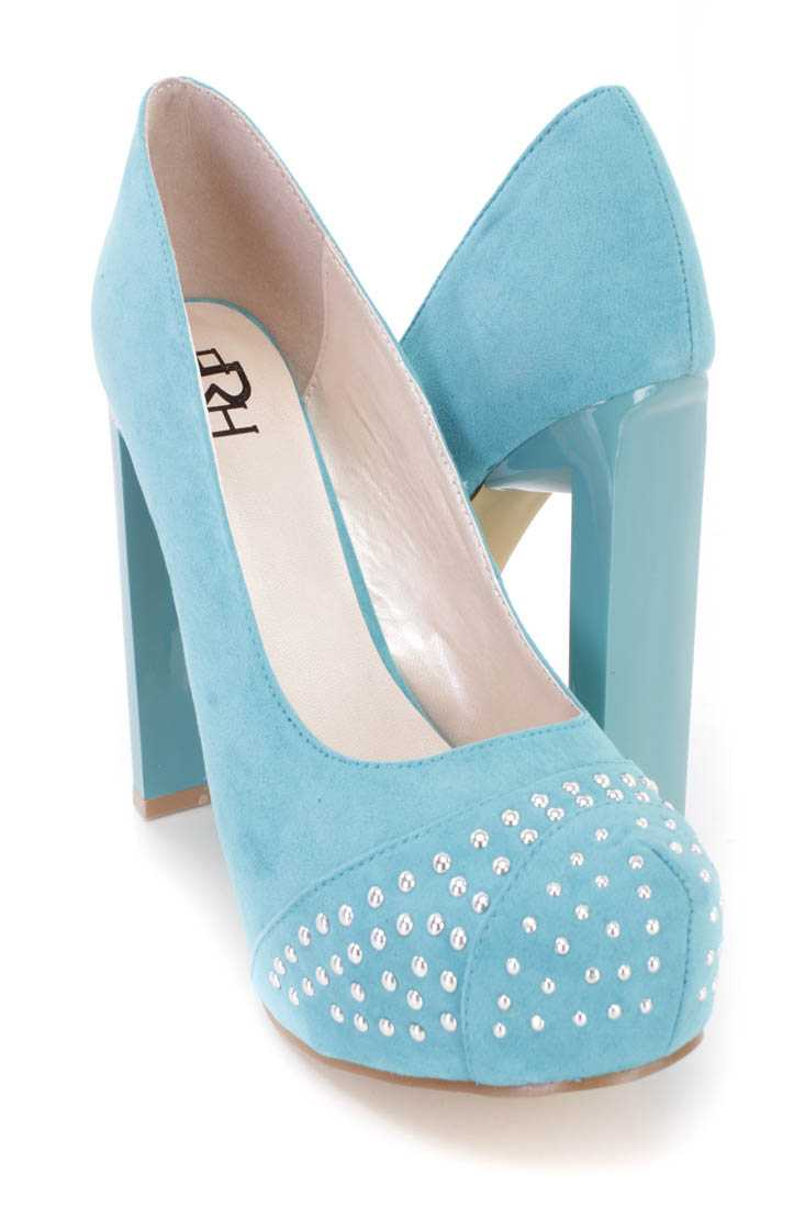 Mint Studded Platform Pump High Heels Faux Suede