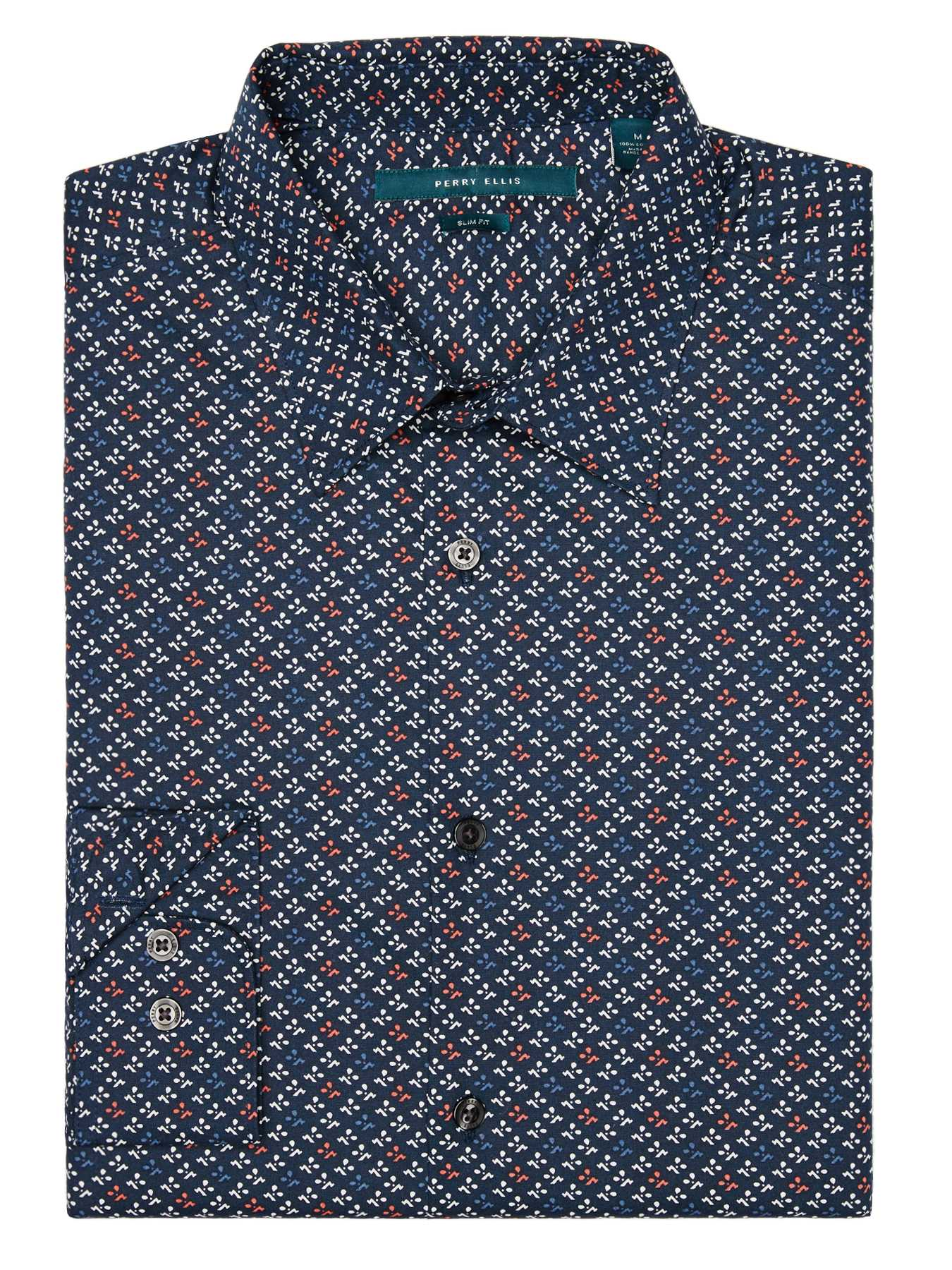 Perry Ellis Slim Fit Printed Petal Shirt