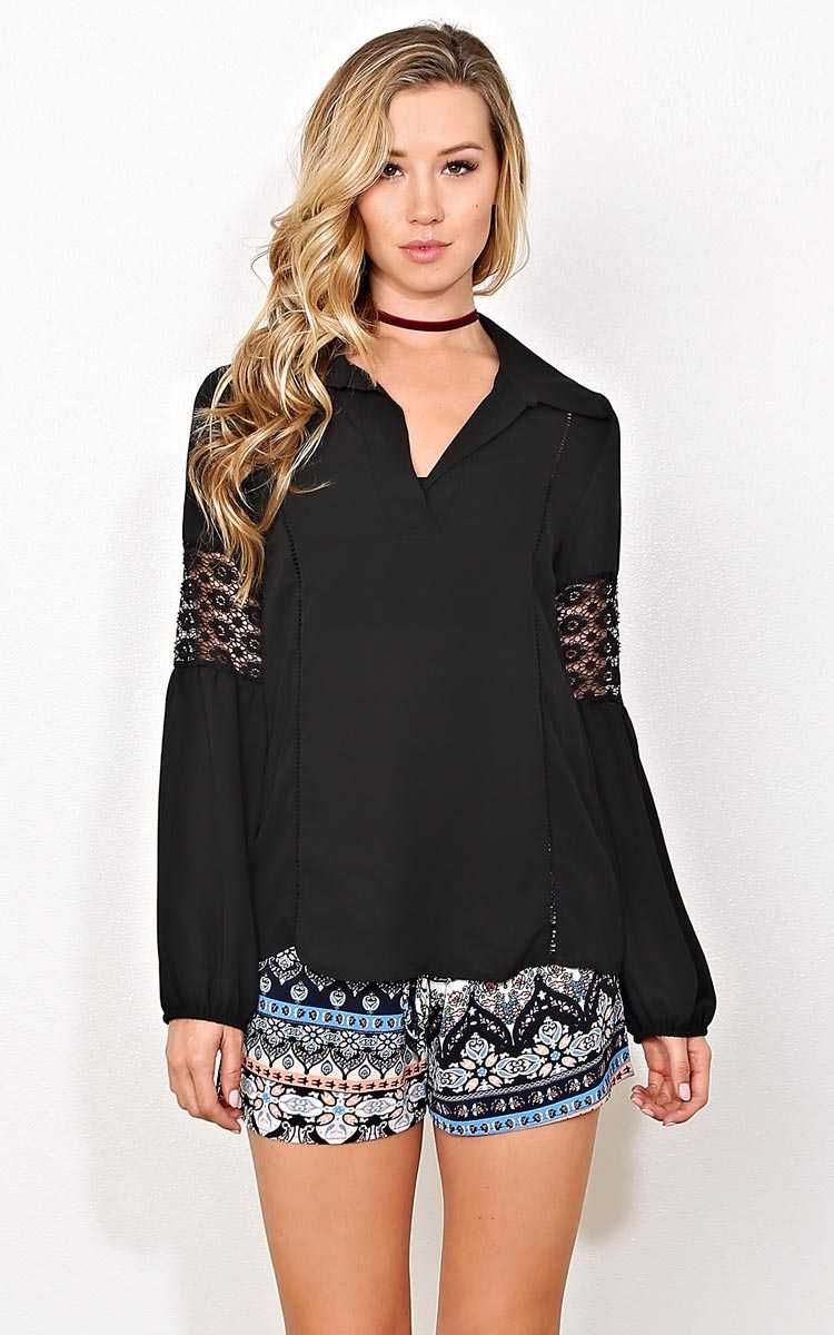 Black Hudson Woven Top - SML - Black in Size Small by Styles For Less