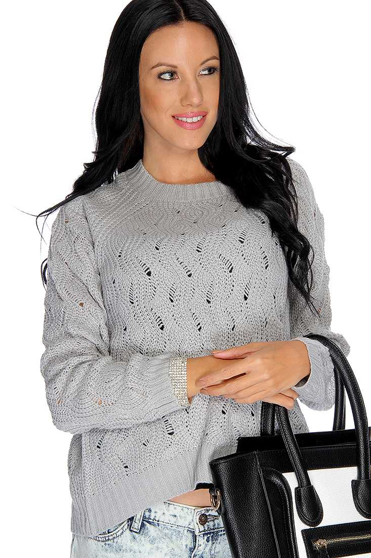 Grey Long Sleeve Open Knit High Low Casual Sweater