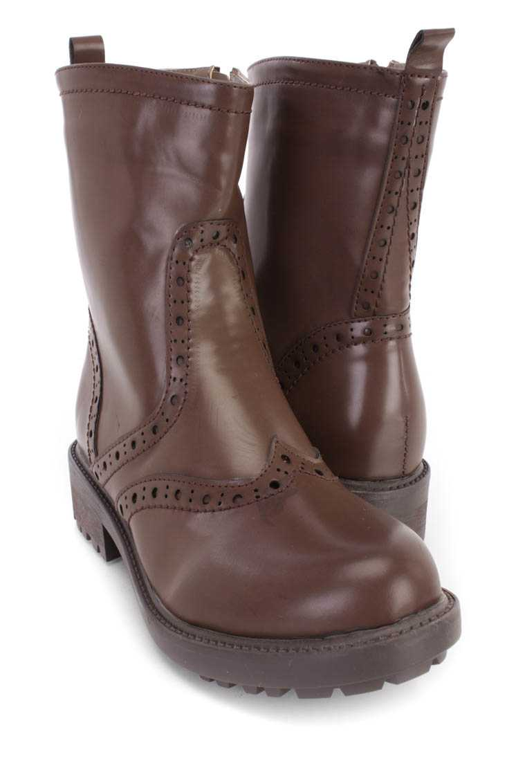 Brown Perforated Stitched Booties Faux Leather