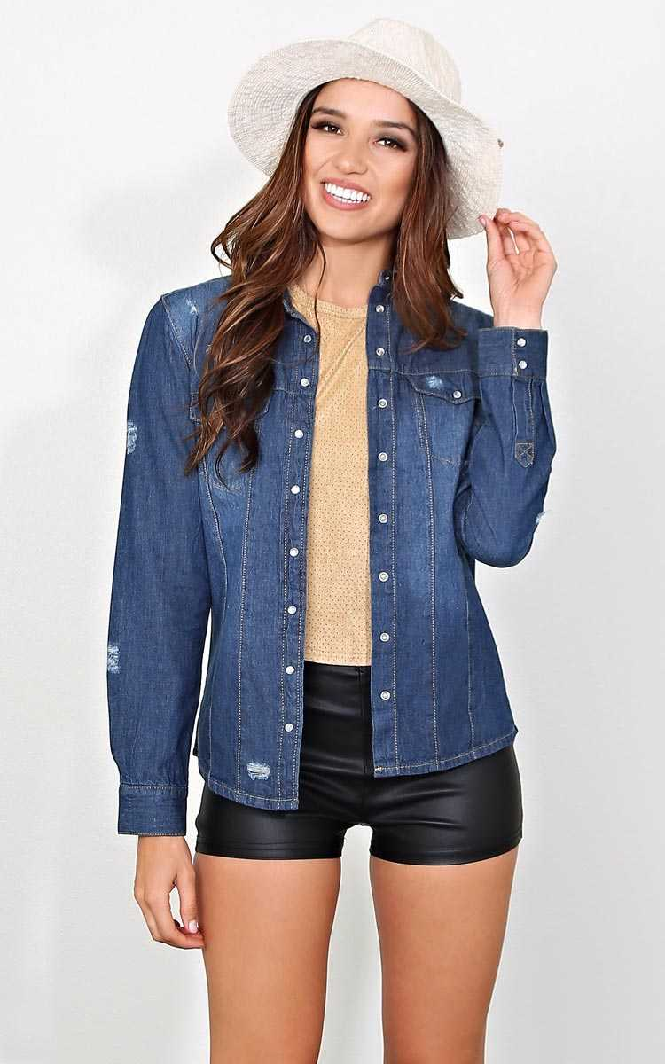 Fall For You Chambray Top - MED - Dark Denim in Size Medium by Styles For Less