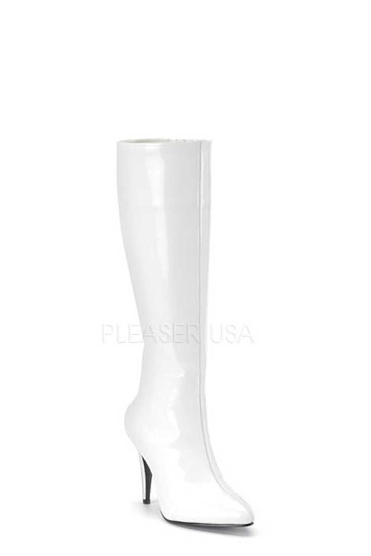 White Pointed Toe Knee High Boots Patent