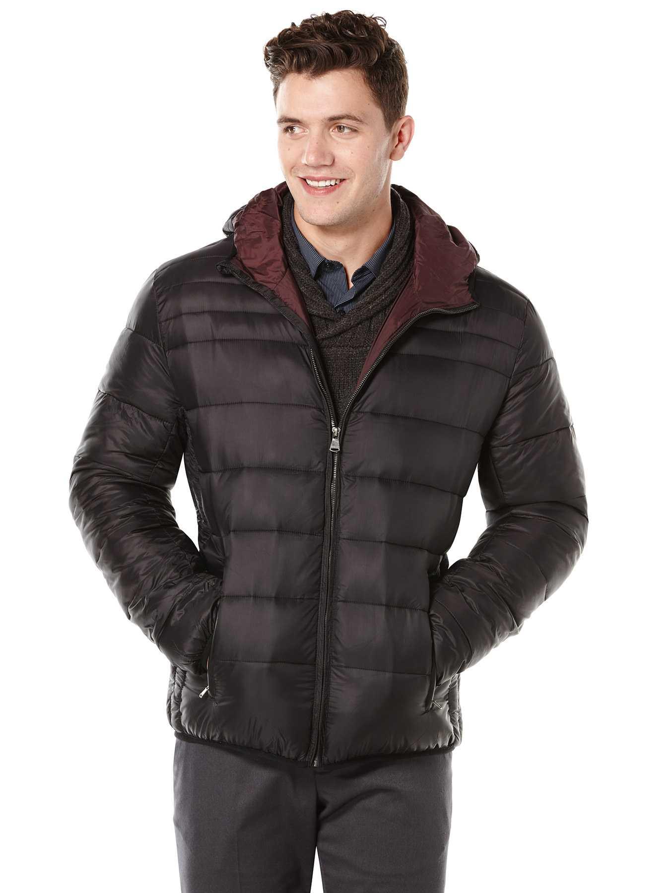 Perry Ellis Hooded Zip Front Puffer Jacket