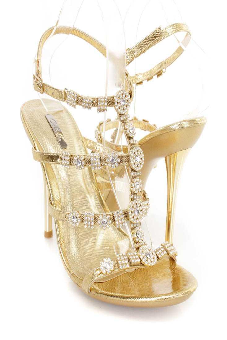 Gold Rhinestone Strappy Single Sole Heels Faux Leather