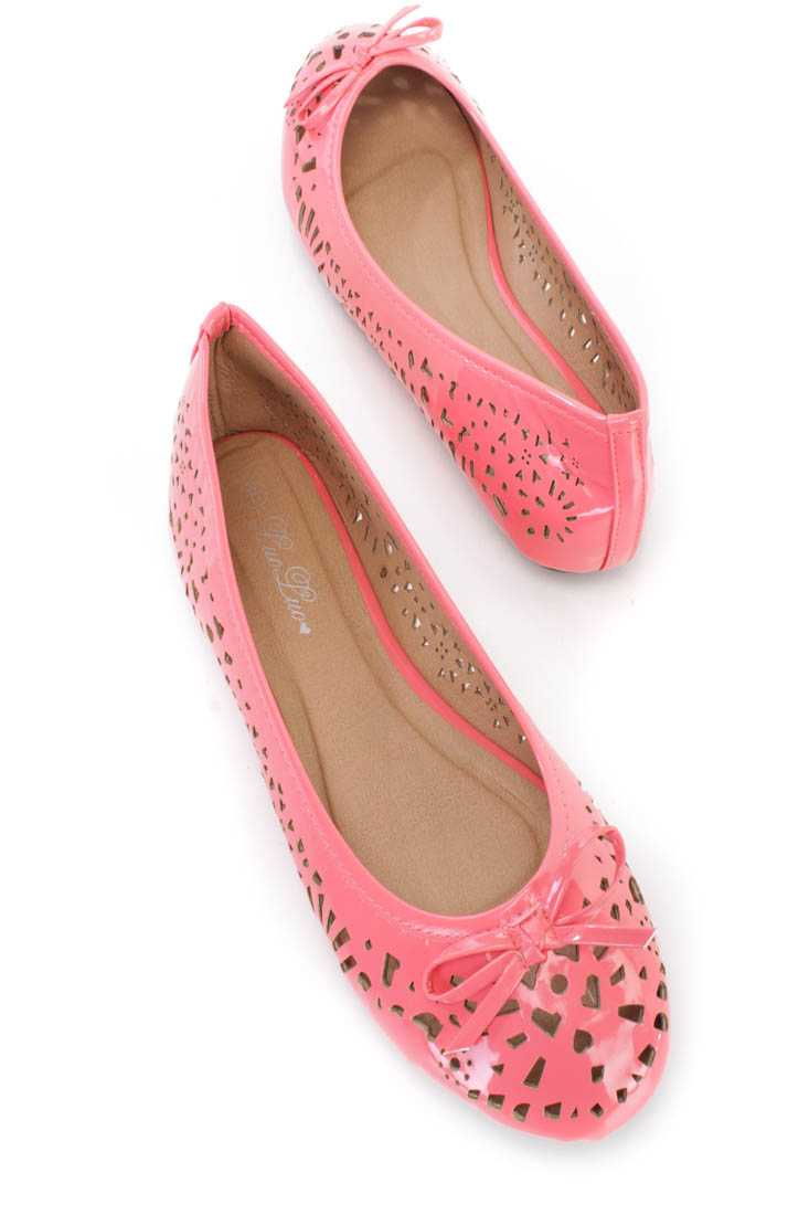 Coral Perforated Bow Tie Ballet Flats Patent