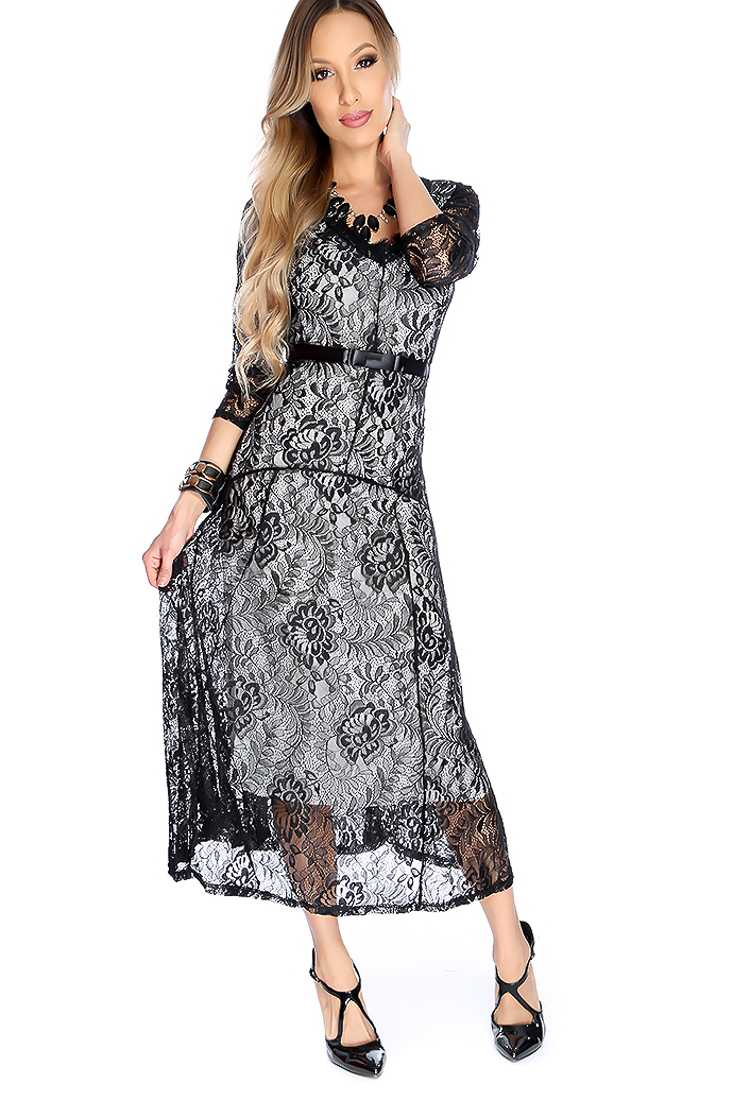 Sexy Black Floral Lace Ribbon Waistband Midi Party Prom Dress