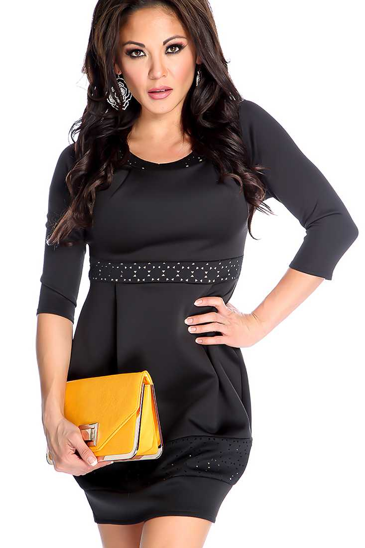 Beige Black Perforated Short Sleeve Party Dress
