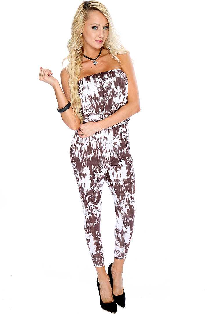 Brown White Printed Strapless Jumper Outfit