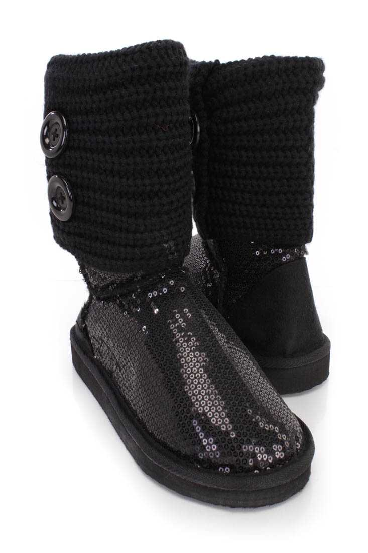 Black Knitted Cuff Slip On Casual Boots Sequin