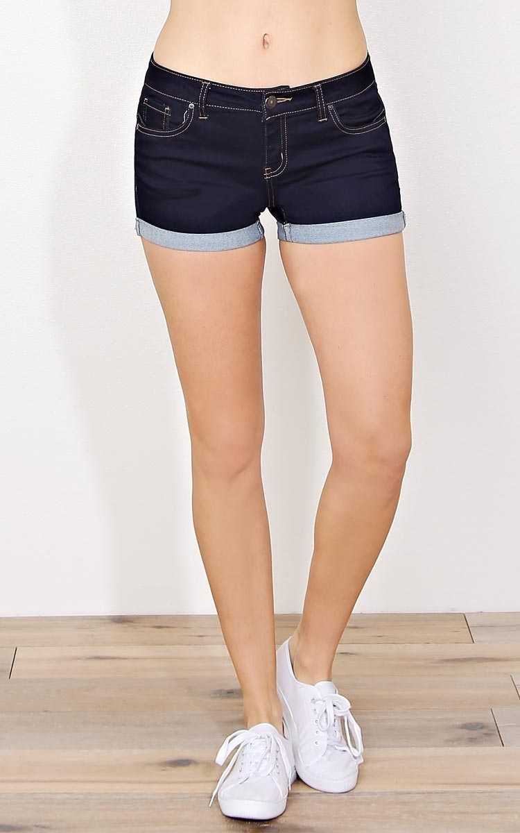 Soak Up The Sun Denim Shorts - - Dark Denim in Size by Styles For Less