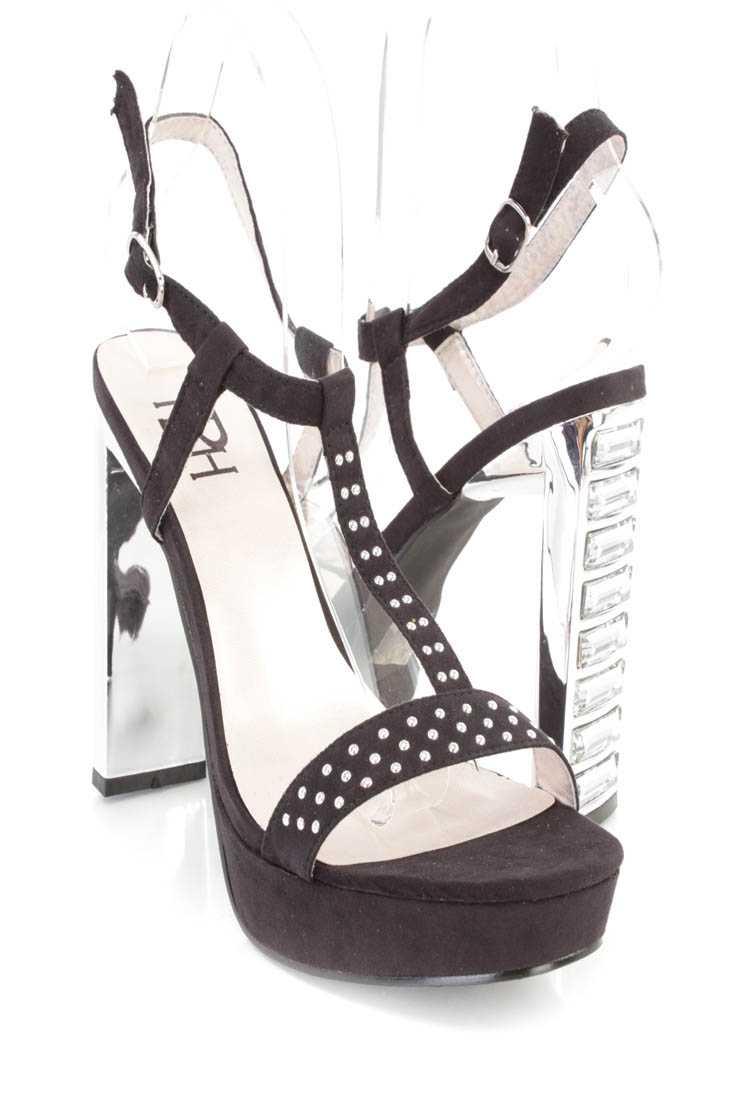 Black Studded T Strap Platform Heels Faux Suede