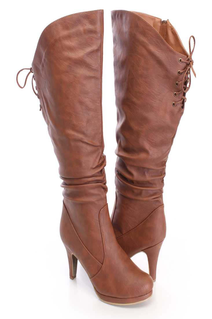Tan Slouchy Knee High Boots Faux Leather