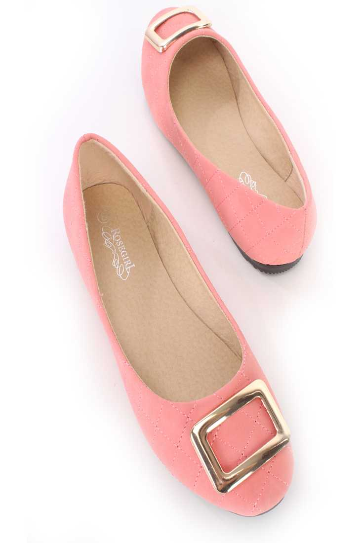 Coral Quilted Buckle Accent Ballet Flats Nubuck