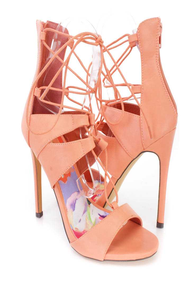 Orange Lace Up Single Sole Heels Faux Leather