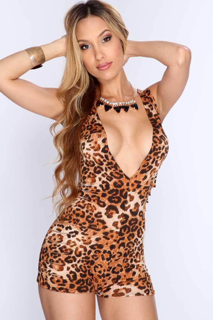 Brown Leopard Deep V Neck Razor Cut Sexy Romper Outfit