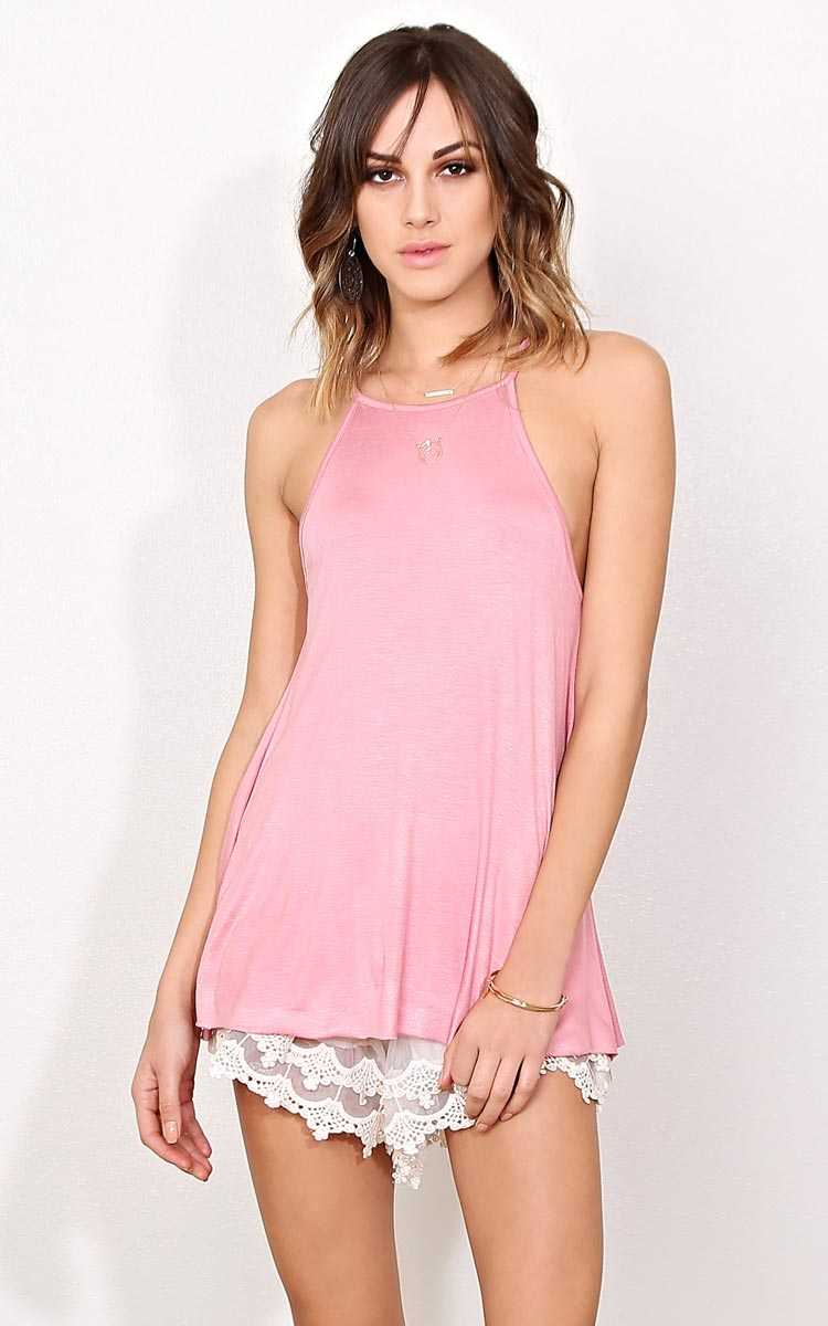 Kelsey Mock Neck Knit Tank - - Salmon in Size by Styles For Less