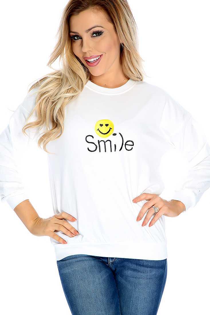 Casual White Embroider Design Sweater Top