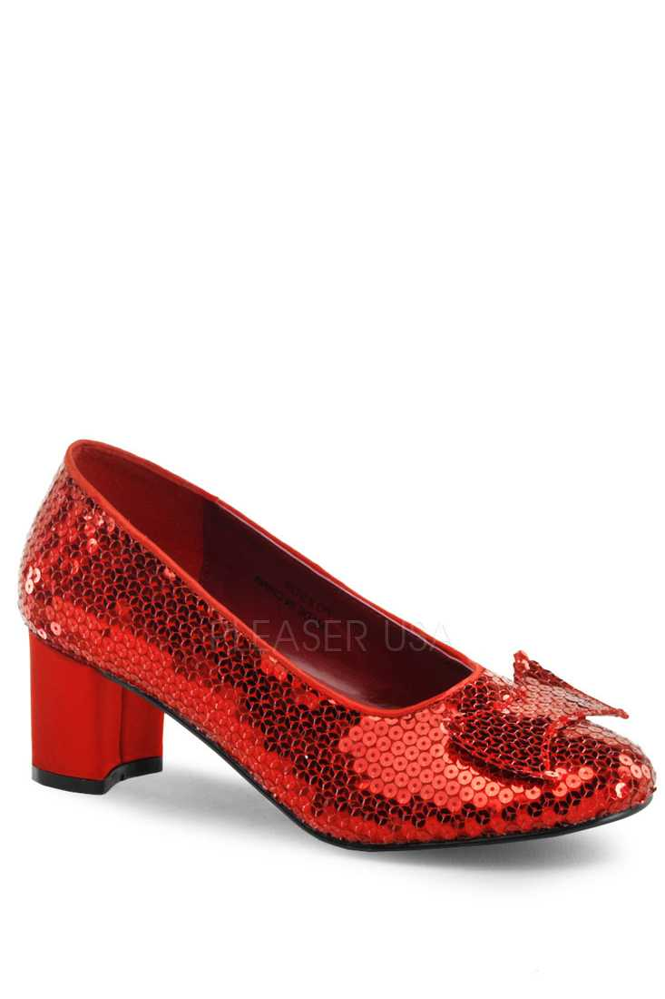 Red Bow Tie Pump High Heels Sequins