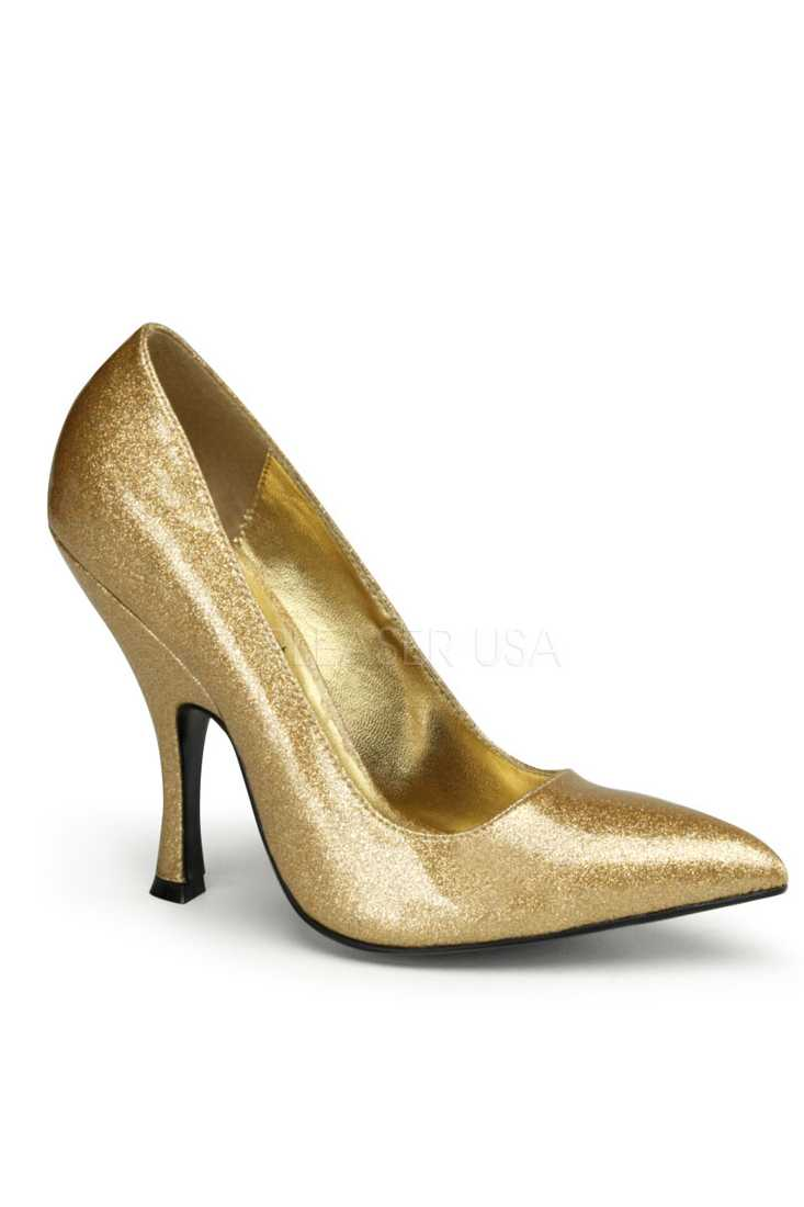 Gold Pearlized Glitter Single Sole Pump High Heels Patent
