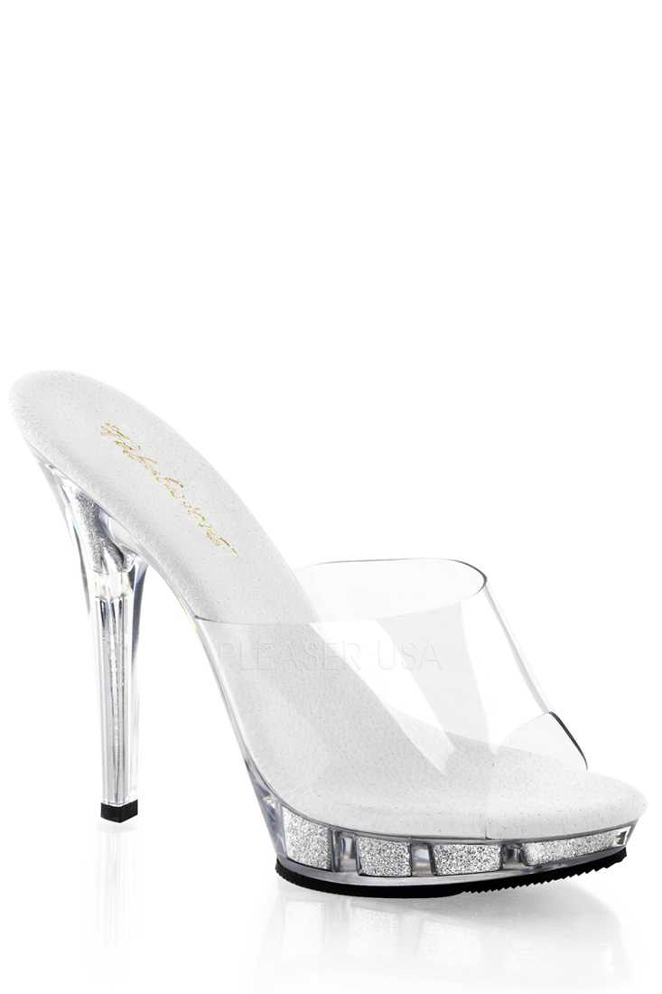 Clear Silver Peep Toe Slip On High Heels PVC Glitter
