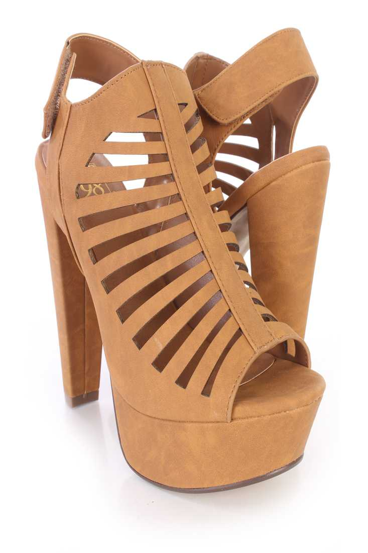 Tan Perforated Strappy Platform Booties Nubuck