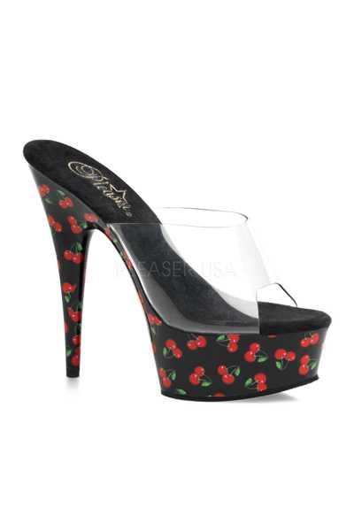 Clear Black Cherry Print Platform High Heels