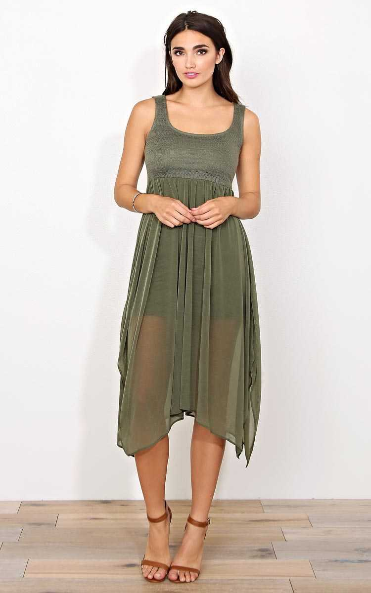 Blaire Crochet Woven Dress - - Olive/Drab in Size by Styles For Less