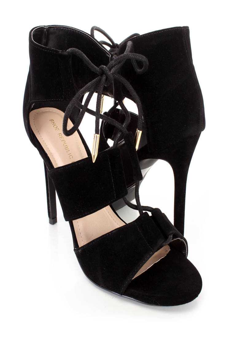 Black Strappy Tie Single Sole Booties Faux Suede