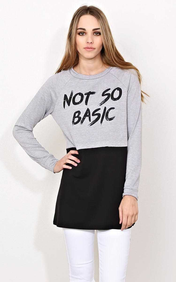 NOT SO BASIC Color Block Knit Pullover - - H Grey Combo in Size by Styles For Less