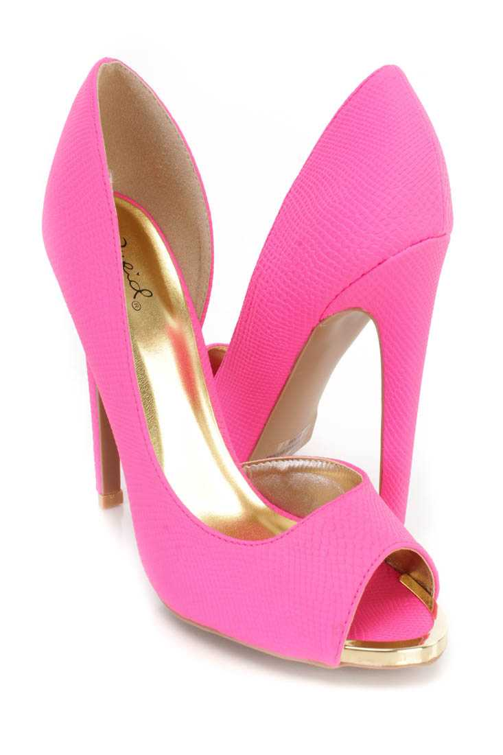 Hot Pink Peep Toe Single Sole D-Orsay Pump High Heels Faux Leather