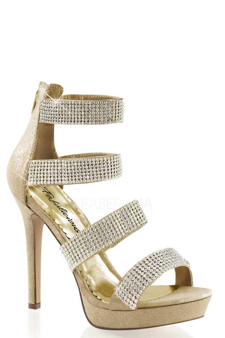Gold Rhinestone Strappy High Heels Fabric