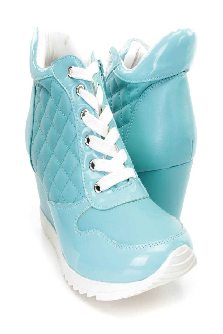 Blue Quilted Lace Up Sneaker Wedges Faux Leather