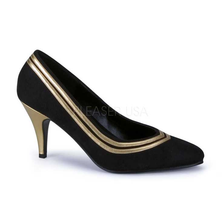 Black Gold Faux Suede Pointed Toe Pump High Heels