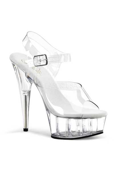 Clear Strappy Peep Toe Platform High Heels