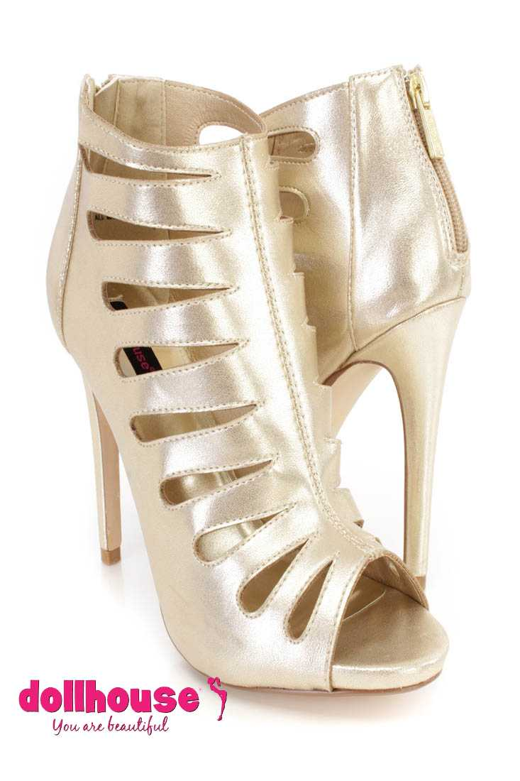 Gold Metallic Cut Out Peep Toe Bootie Heels Faux Leather