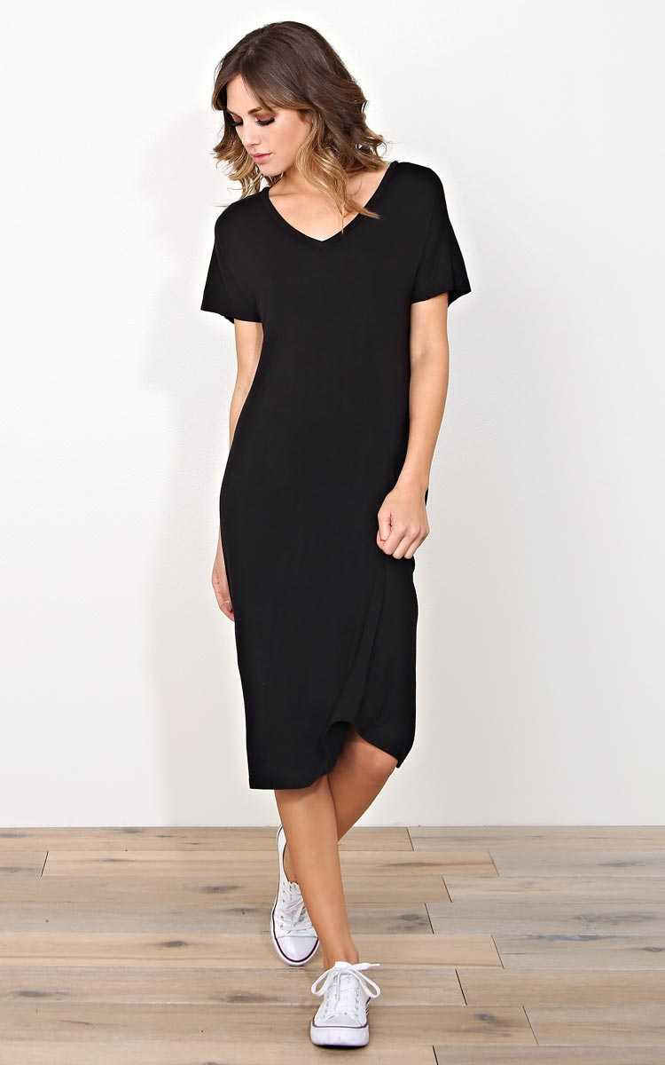 Casual V Neck Tshirt Dress - SML - Black in Size Small by Styles For Less