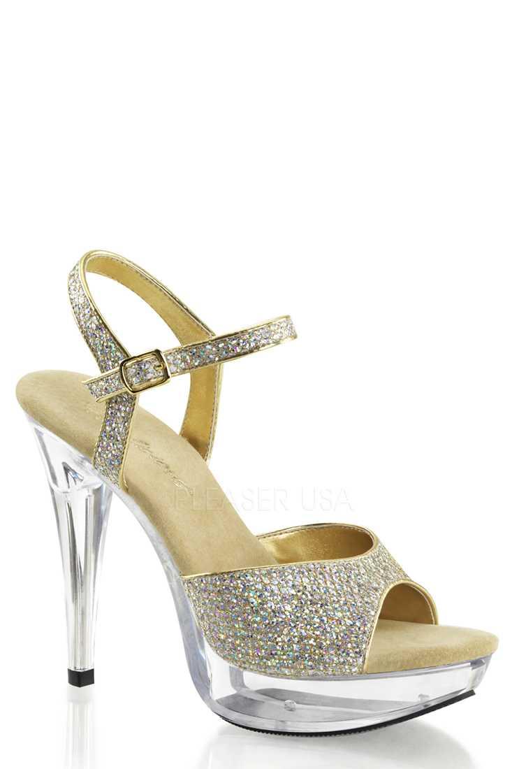 Gold Clear Platform High Heels Glitter