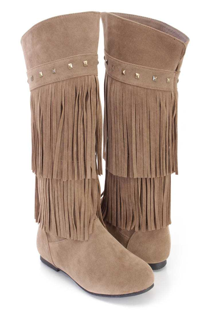 Taupe Fringe Tiered Studded Boots Faux Suede