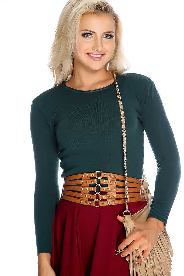 Forest Green Long Sleeves Knitted Sweater Top