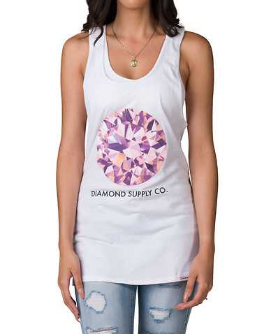 DIAMOND SUPPLY WOMEN WOMENS White Clothing / Tank Tops
