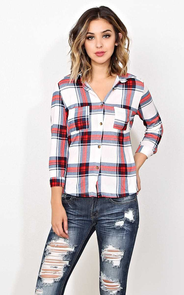 Open Air Knit Plaid Top - LGE - Ivory Combo in Size Large by Styles For Less