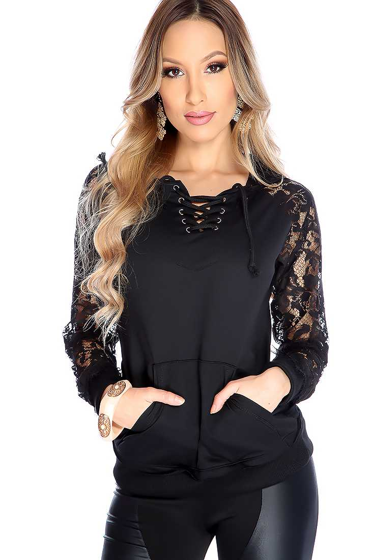 Black Lace Up Floral Mesh Hooded Sweater