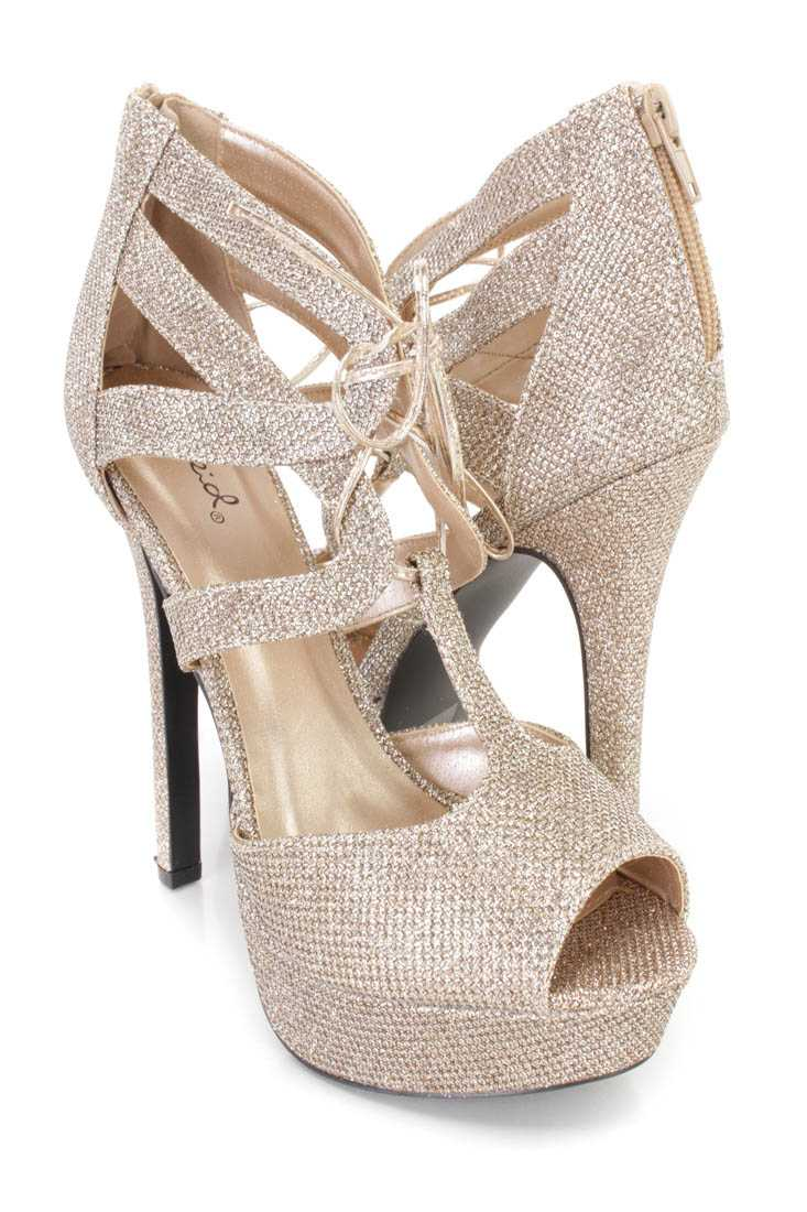 Champagne Lace Up Peep Toe Platform High Heels Glitter
