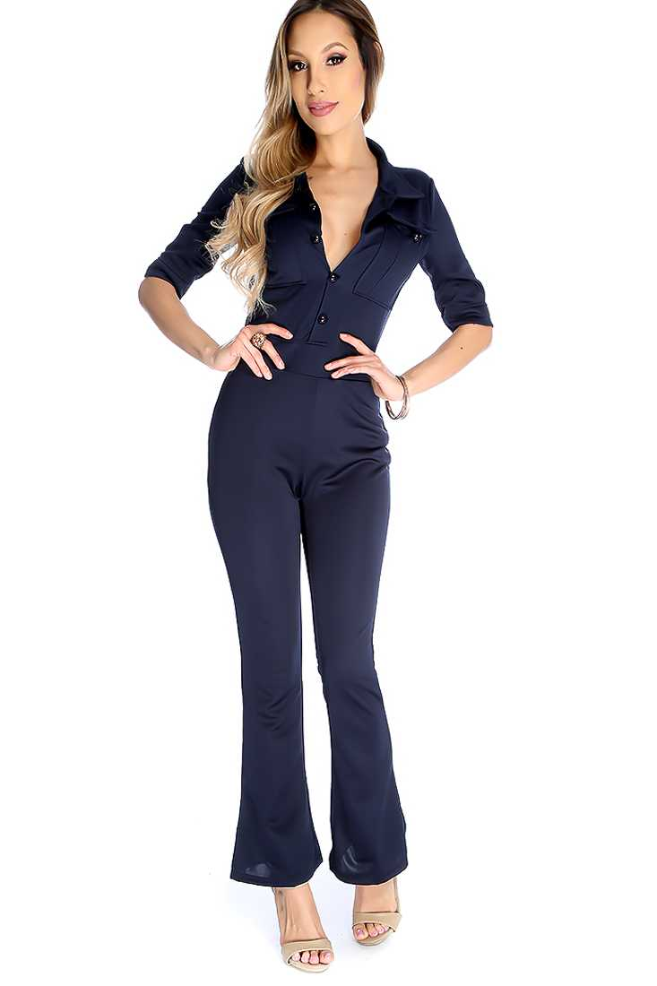 Sexy Navy Button Up Quarter Sleeve Jumpsuit